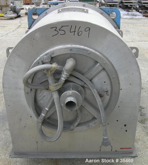 "USED: Tema Siebtechnik D-600-hw descade solid bowl decanter centrifuge, S/S. 24"" dia x 30"" long i.d., max bowl spd 2100 rpm,..."