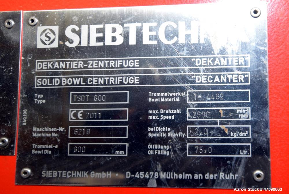 Unused- Siebtechnik Tema TSDT 600 EK Turbo Screen Decanter Tube Solid Bowl Centr