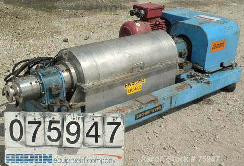 Used- Sulzer Escher Wyss ZDC-30 Decanter Centrifuge, Type ZDC-30, Hastelloy S on product contact parts. Gas tight design. Ca...