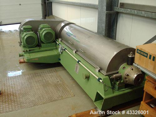 Used-Westfalia Hysep AD 0918 Solid Bowl Decanter Centrifuge.  Stainless steel on product contact parts, 2 gear drives, base,...