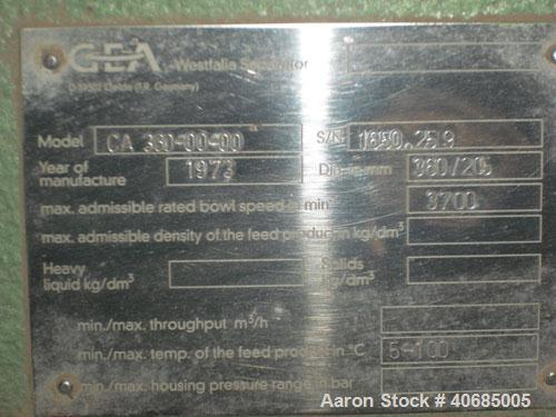 Used-Westfalia CA-360-00-000 Solid Bowl Decanter Centrifuge, 316 stainless steel (1.4401), max bowl speed 3700 rpm, gearbox,...