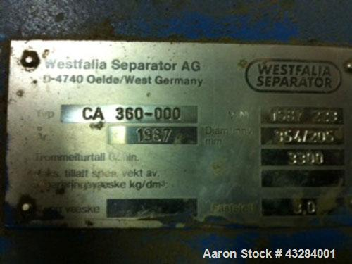 Used- Stainless Steel Westfalia Solid Bowl Decanter Centrifuge, CA 360-000