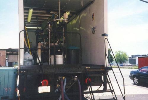 USED: Mobile separation system with a Westfalia CA-365-01-12 solid bowl decanter centrifuge, stainless steel construction on...