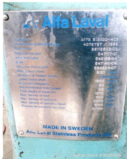 Used-Alfa Laval centrifuge, type AFPX513XGD-1403/1996. Material of construction is stainless steel. Capacity 4m3 , max bowl ...