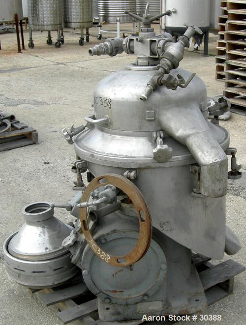 Used- Alfa-Laval BRPX-207-19S-60 Desludger Centrifuge, 304 Stainless Steel. Purifier design, maximum bowl speed 6200 rpm, ra...