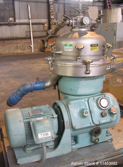 Used-Alfa Laval BRPX-207SGV-39-60 Desludger Disc Centrifuge. Stainless steel construction (product contact areas), clarifier...