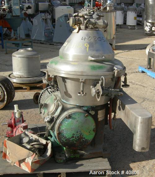 USED: Alfa-Laval brpx-309-34s desludger, two phase clarifier in stainless construction, flange mtd motor, 11 kw, 3/50/380, i...