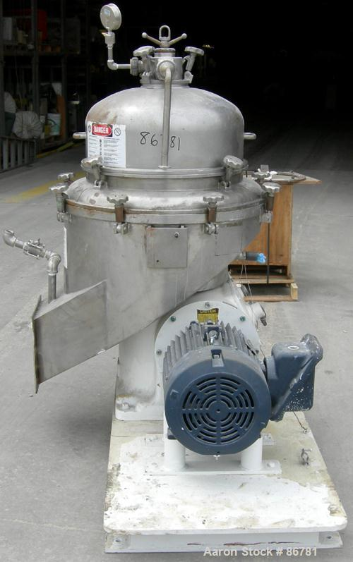 USED: Alfa Laval BRPX-213 desludger disc centrifuge. 316 stainless steel construction on product contact areas. Clarifier de...