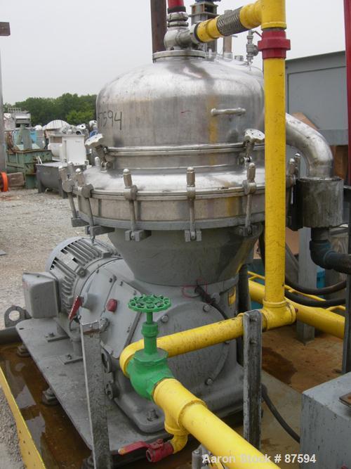 USED: Alfa Laval BRPX-313 desludger disc centrifuge, model BRPX-313X6D-75-6014267-6, 329 stainless steel construction on pro...