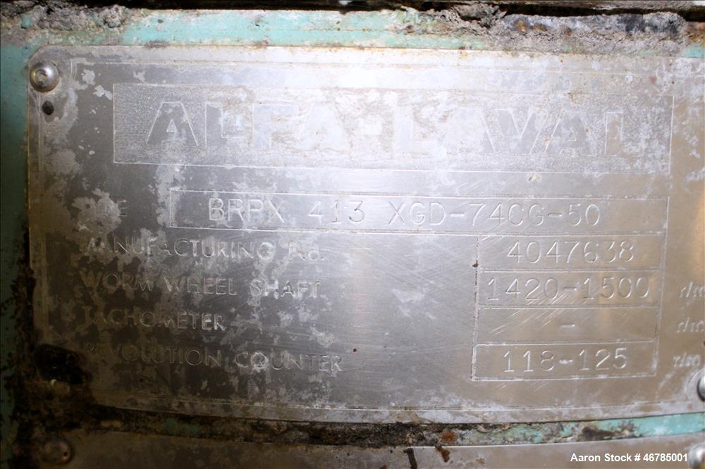 Used- Alfa Laval BRPX-413-XGD-74CG Desludger Disc Centrifuge
