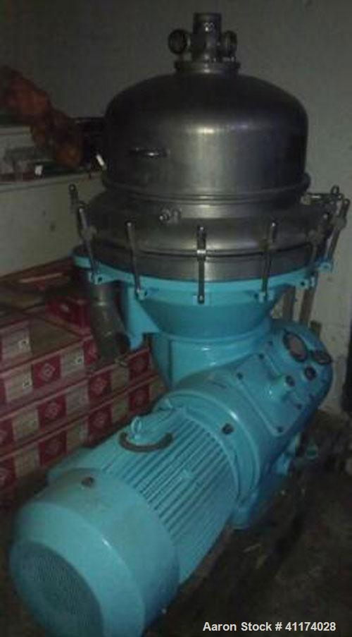 Used-Alfa Laval BRPX-413XGD-14 Desludger Disc Centrifuge, stainless steel on contact parts, 40 hp/30 kW motor, direct drive,...
