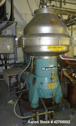 Used- Alfa Laval BRPX-417 SFV Disc Centrifuge. Capacity approximately 300 liters/hr. 50 KW motor. Rated 4,025 RPM. Includes ...