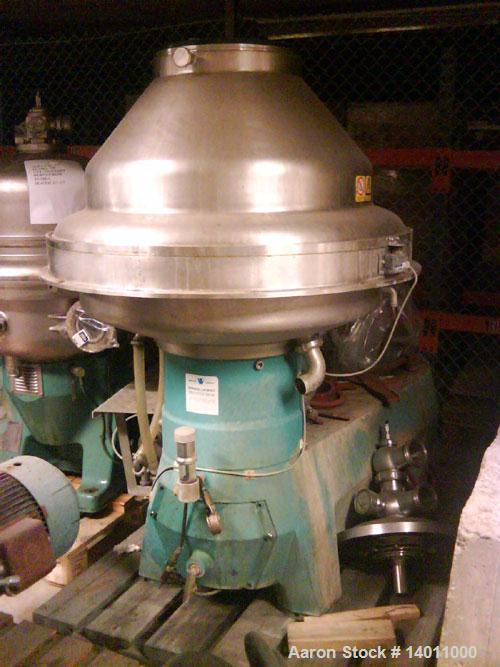 Used- Alfa Laval BRPX-417SFV-31CGL Desludger Disc Centrifuge, stainless steel construction (product contact areas), clarifie...
