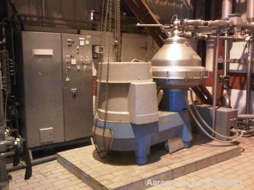 Used- Alfa Laval BRPX-417 Desludger Disc Centrifuge.  Stainless steel construction (product contact areas), clarifier design...