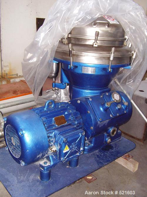 USED: Alfa-Laval BRPX-213-35H-12 desludger disc centrifuge, 50 hz. Manual and tools included. Reported to be reconditioned.