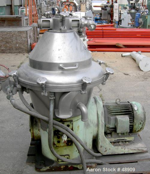 USED: Alfa Laval BRPX-309-34S Desludger Disc Centrifuge. Material of construction is 316 stainless steel, clarifier design, ...