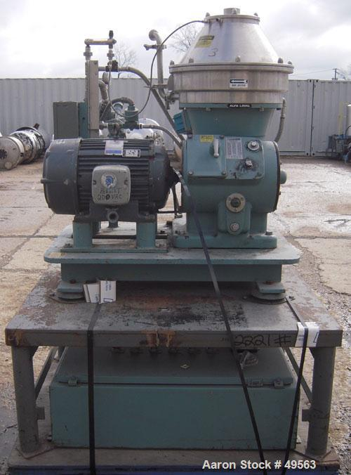Used- Alfa Laval BTPX-205-SGD-35-60 Desludger Disc Centrifuge, 2205 stainless steel bowl, 316 stainless steel top cover. Cla...