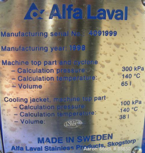USED: Alfa Laval BTPX-205-SGD-34-CDP desludger disc centrifuge, 316 stainless steel construction on product contact areas. C...