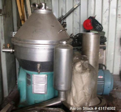 Used-Alfa Laval DMRPX-407-SGP-34 Desludger Disc Centrifuge, Clarifier. 11 kW (14 2/3 hp) motor, 50 Hz, built 1988. Capacity:...