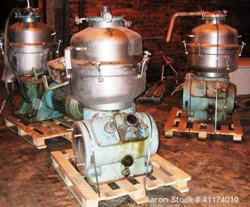 Used-Alfa Laval FESX-412S-34 Centrifuge, stainless steel, approximately 22.5 hp, 50 hz.