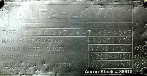 Used- Alfa Laval FUVPX-207-AGT-79-60 Desludger Disc Centrifuge