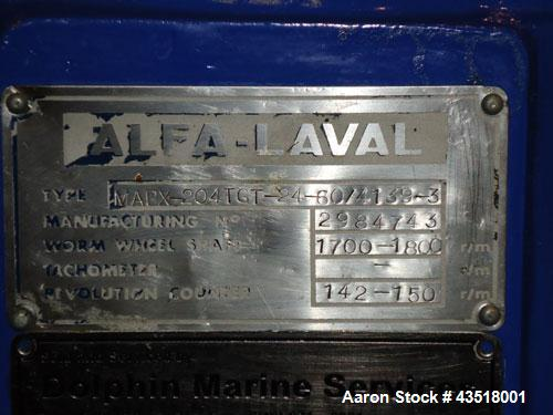 Used-Alfa Laval MAPX-204TST-24-60 Desludger Disc Centrifuge.  Stainless steel construction (product contact areas), separato...