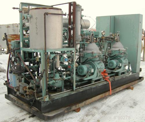 USED: Diesel engine fuel treatment system consisting of: (2) Alfa Laval model MAPX-205 TGT-24-60HZ disc bowl centrifuges, bo...