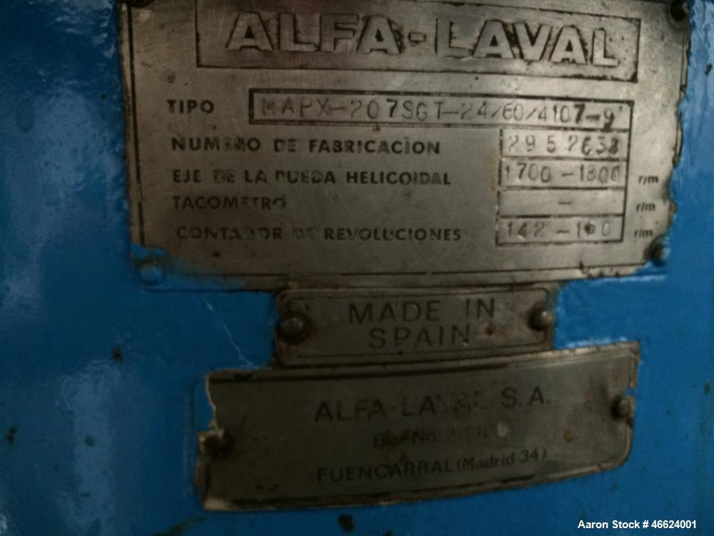 Used- Alfa Laval MAPX-207-SGT Desludger Disc Centrifuge