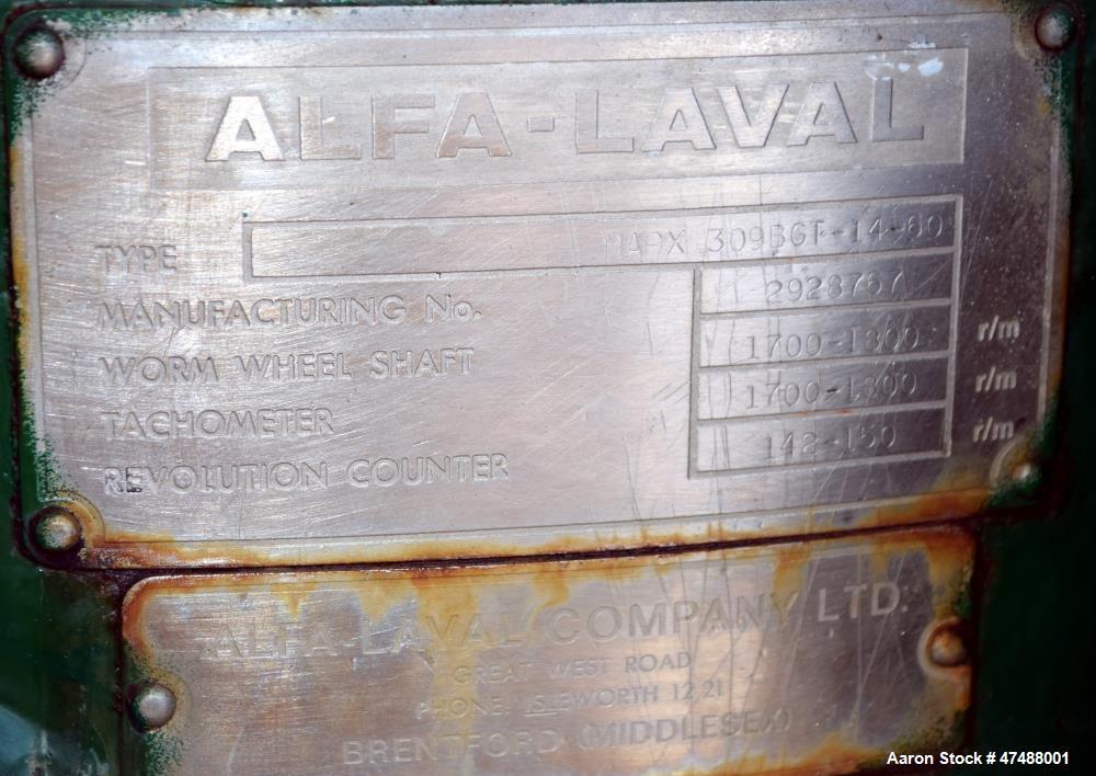 Used- Alfa-Laval MAPX-309-BGT-14-60 Desludger Disc Centrifuge. Stainless steel/bronze bowl construction, separator design (l...