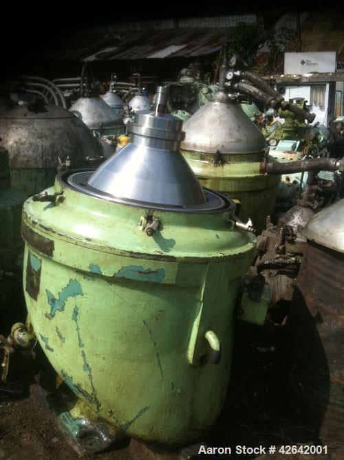Used-Alfa Laval MOPX-213-TGT-24 Desludger Disc Centrifuge. Stainless steel bowl assembly, separator design (liquid/liquid/so...