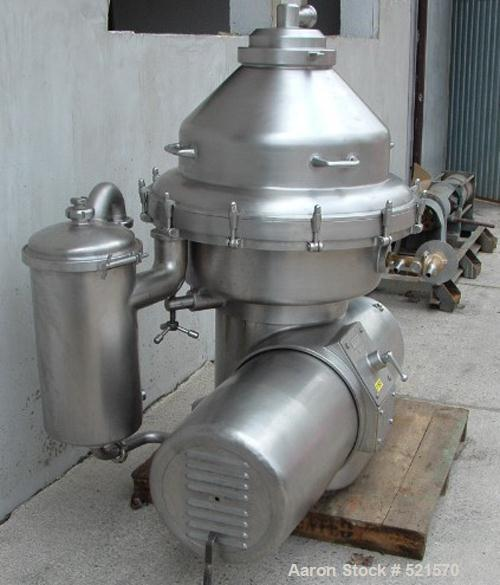 USED: Alfa Laval MRPX-214-TGC desludger disc centrifuge, stainless steel construction on product contact areas. Clarifier de...