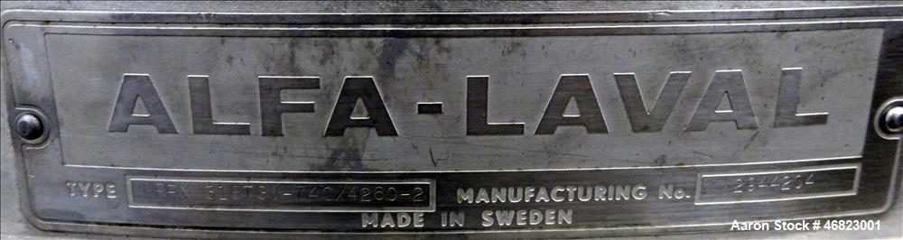 Used- Alfa-Laval MRPX-318-TGV-74C Desludger Disc Centrifuge