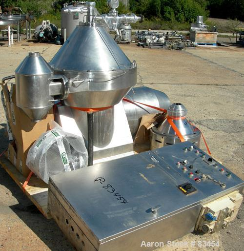 Used- Alfa Laval MRPX-410-TGD-74 Desludger Disc Centrifuge. 329 Stainless Steel Construction on Product Contact Areas.Light ...