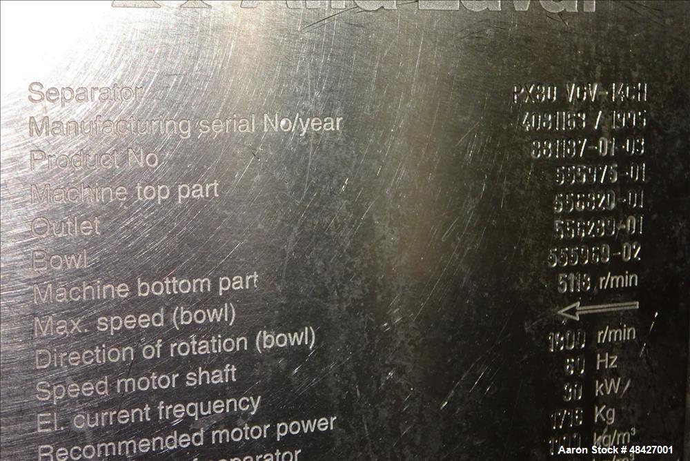 Used- Alfa Laval PX-80-VGV-14CH Refining Desludger Disc Centrifuge