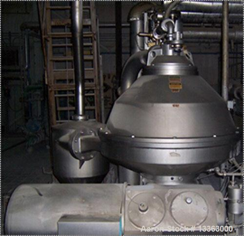 Used-Alfa Laval PX-90 Desludging Disc Centrifuge, stainless steel construction (product contact areas), max bowl speed 4250 ...