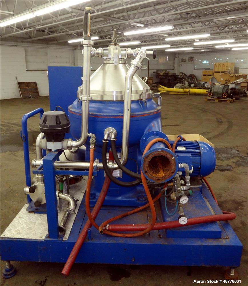 Used- Alfa Laval VNPX-310-SDG-34 Desludger Disc Centrifuge. Stainless steel construction (product contact areas), clarifier ...