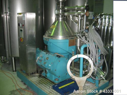 Used-Alfa-Laval VNPX-407-HSGP-34-MU Desludger Disc Centrifuge. Stainless steel construction on product contact parts, clarif...