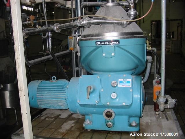 Used- Alfa Laval Centrifuge, Model VNPX 407 SGT-34-50. Maximum bowl speed 7275 rpm. Mfg. 1990. Last running Arabic gum.