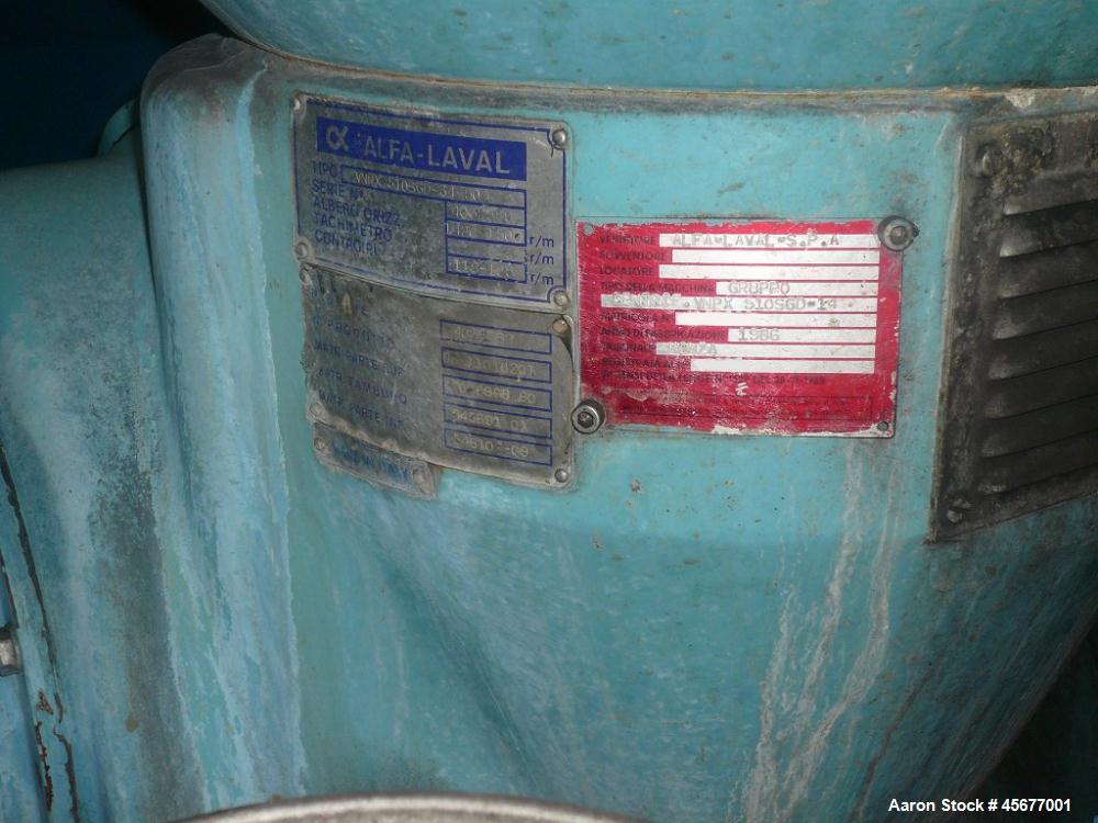 Used- Alfa Laval VNPX-510SGD-34GS Desludger Disc Centrifuge