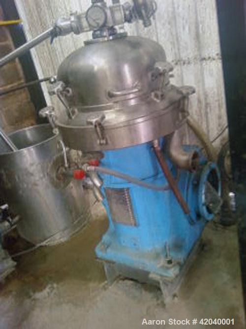 Used- Alfa Laval WSPX-303-TGP-71 Desludger Disc Centrifuge, stainless steel 316 bowl, concentrator design, 7.5 hp/5.5 kW mot...