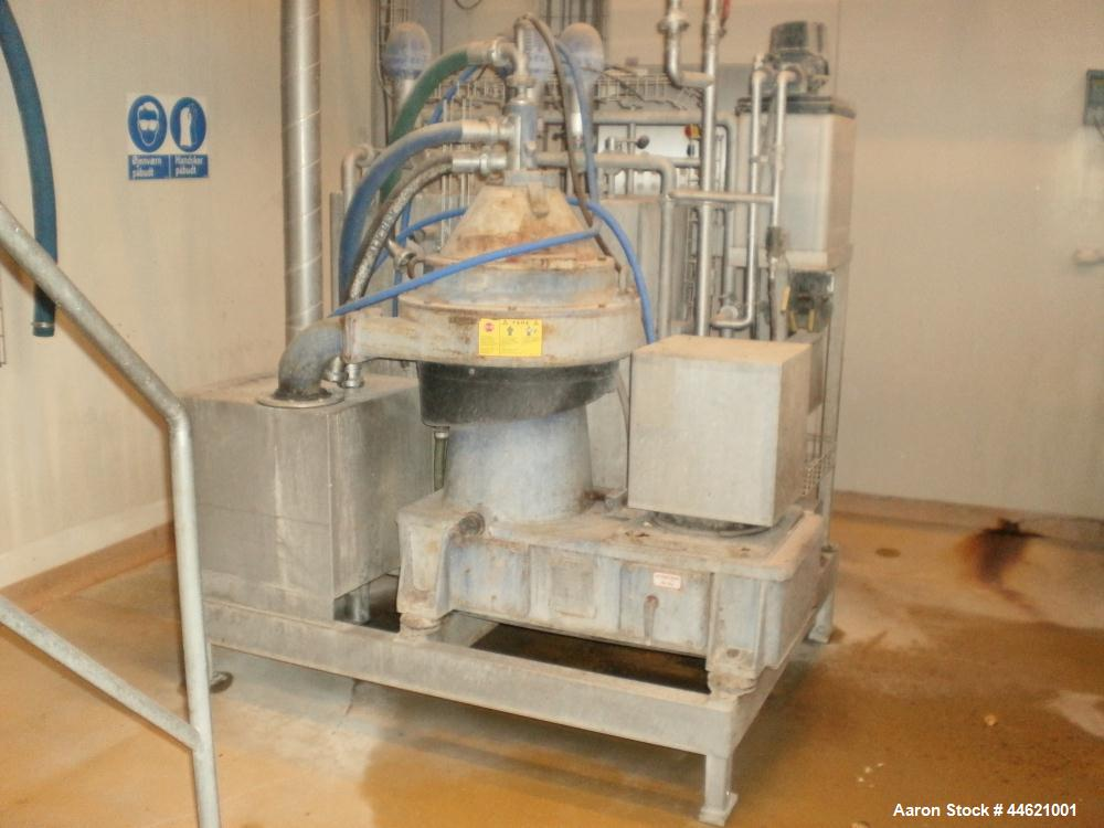 Used-Alfa Laval WSPX 307-71G Desludger Disc Centrifuge. Stainless steel 316 bowl, concentrator design on product contact par...