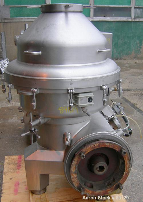 USED: Delaval continuous milk separator, model HMRPX-S314. 316 stainless steel product contact areas. Max bowl speed approxi...