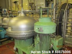 Used- Westfalia SA-100-03-177 Desludger Disc Centrifuge. 316 stainless steel construction (product contact areas). Max bowl ...