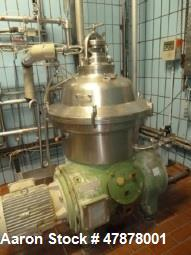Used- Westfalia SA-60-47-076 Desludger Disc Centrifuge. 316 stainless steel construction (product contact areas), max bowl s...