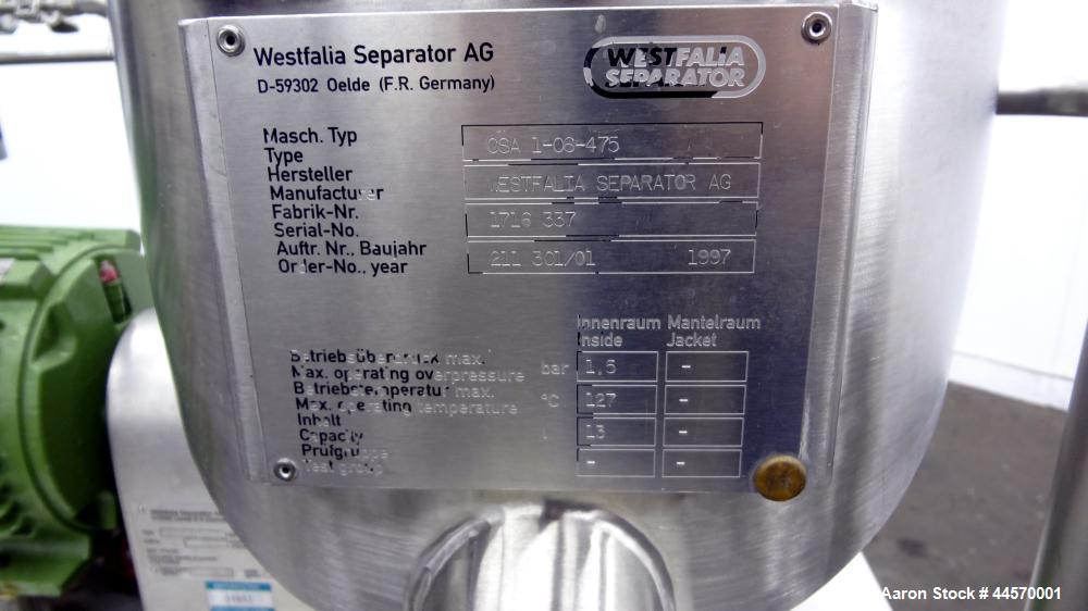 Used- Stainless Steel Westfalia Ultra Polishing Desludger Disc Centrifuge, CSA 1