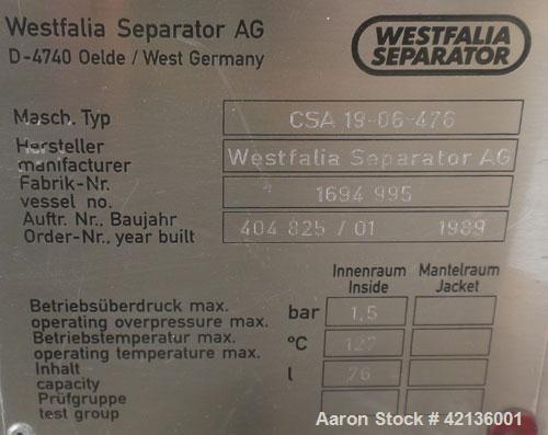 """Used- Westfalia CSA-19-06-476  """"Ultra Polishing"""" Desludger Disc Centrifuge, 316 stainless steel (product contact areas). Max..."""