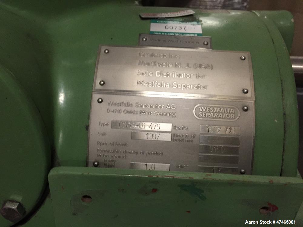 Used- Westfalia CSA-8-06-476 Desludger Disc Centrifuge, Stainless steel product contact areas, clarifier design (liquid/soli...