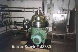 USED:Westfalia CSA160-47-076 disc bowl, polishing clarifier design.Bowl speed 6800 rpm (max), direct drive motor 22 kw (30 h...