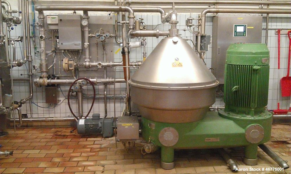 Used-Westfalia GSC-150-36-777 Desludger Disc Centrifuge. 316 Stainless steel (product contact areas), maximum bowl speed 480...