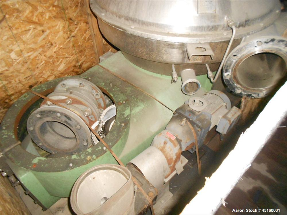 Used- Westfalia HSA-200-36-177 Desludger Disc Centrifuge, stainless steel construction (product contact areas), max bowl spe...